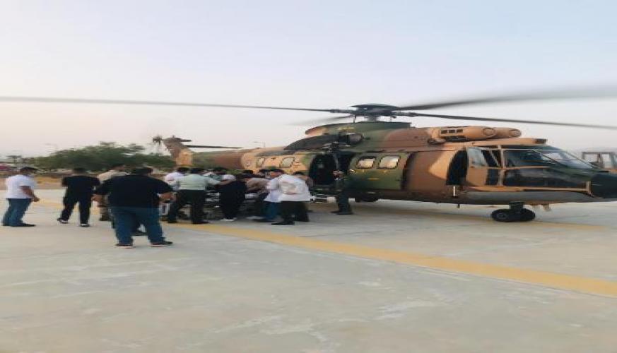 إخلاء أحد الأطباء إلى مدينة الحسين الطبية بواسطة طائرة تابعة لسلاح الجو الملكي